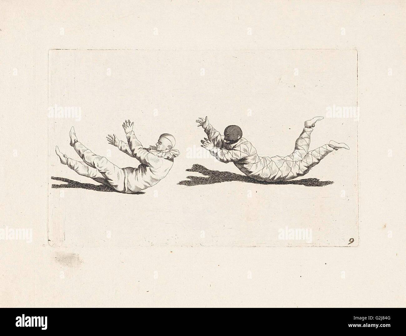 Arlequín payaso moverse sin usar sus brazos y piernas, Gerardus Josefo, Pieter Xavery Schenk (II), 1728 Foto de stock
