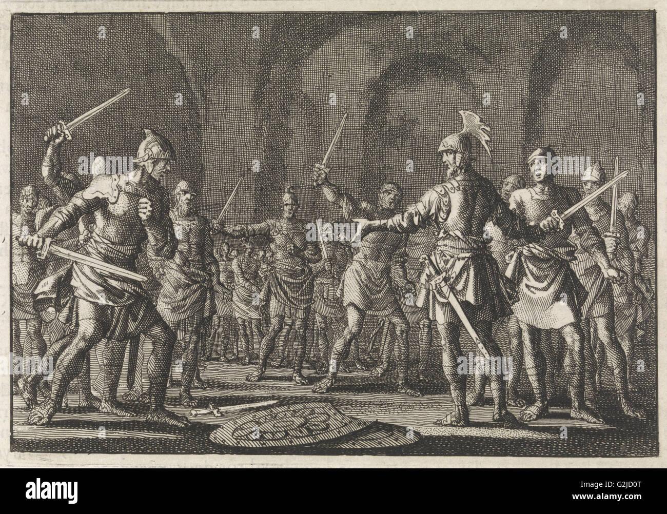 Josefo tras conquistar Jotapata con 40 compañeros en una cueva, Jan Luyken, Pieter Mortier, 1704 Imagen De Stock