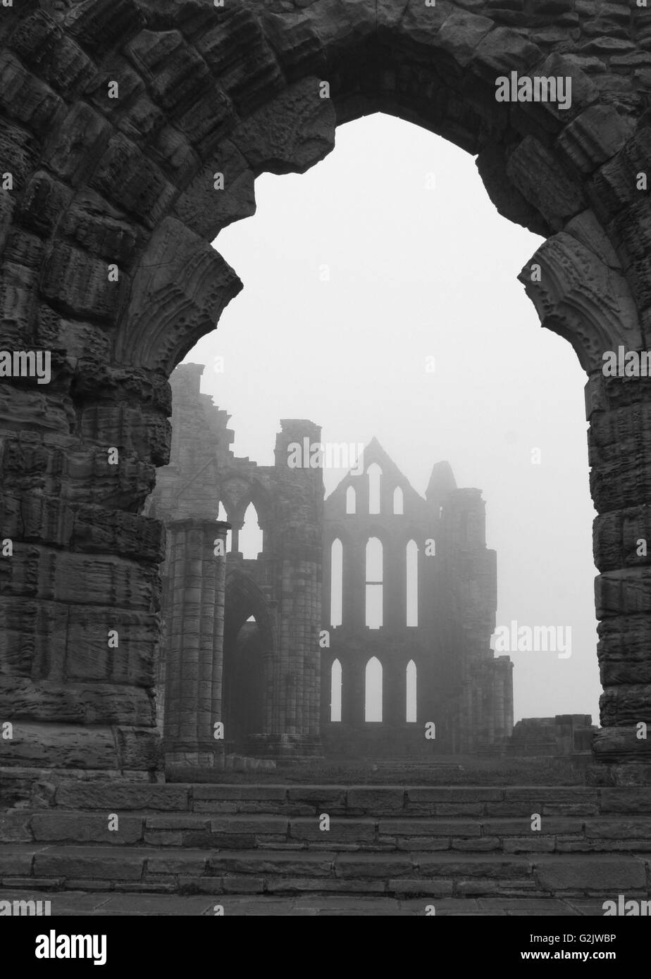 Whitby Abbey - Un estudio en blanco y negro Foto de stock