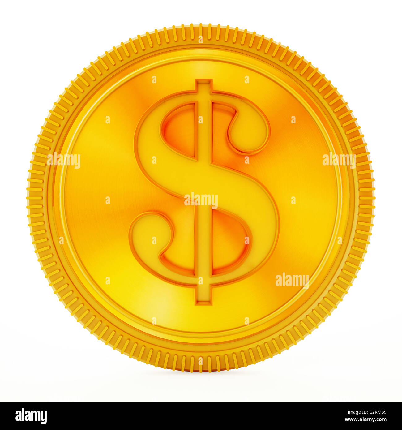 Moneda de oro con el símbolo de dólar aislado sobre fondo blanco. Imagen De Stock