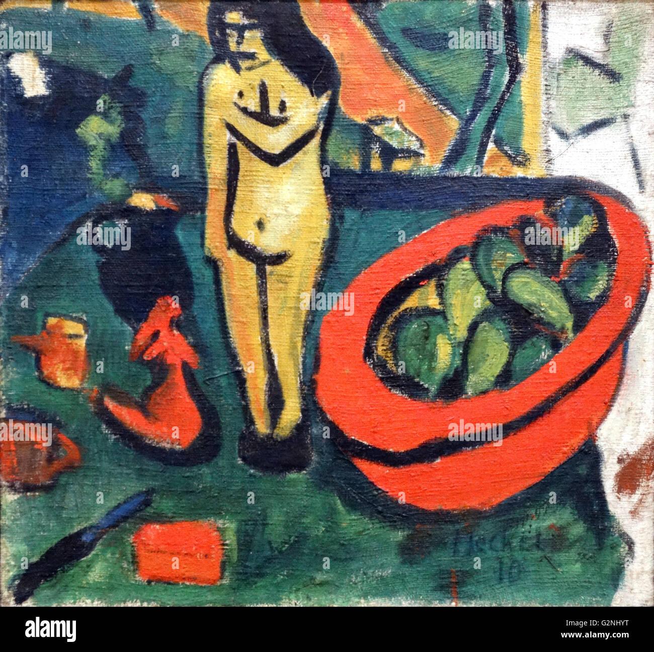 """Mujer bailando por Ernst Ludwig Kirchner (1880-1938), un pintor y grabador EXPRESIONISTA alemán y uno de los fundadores del grupo de artistas """"El puente"""", un grupo clave que conduce a la fundación del expresionismo en el arte del siglo XX. Foto de stock"""
