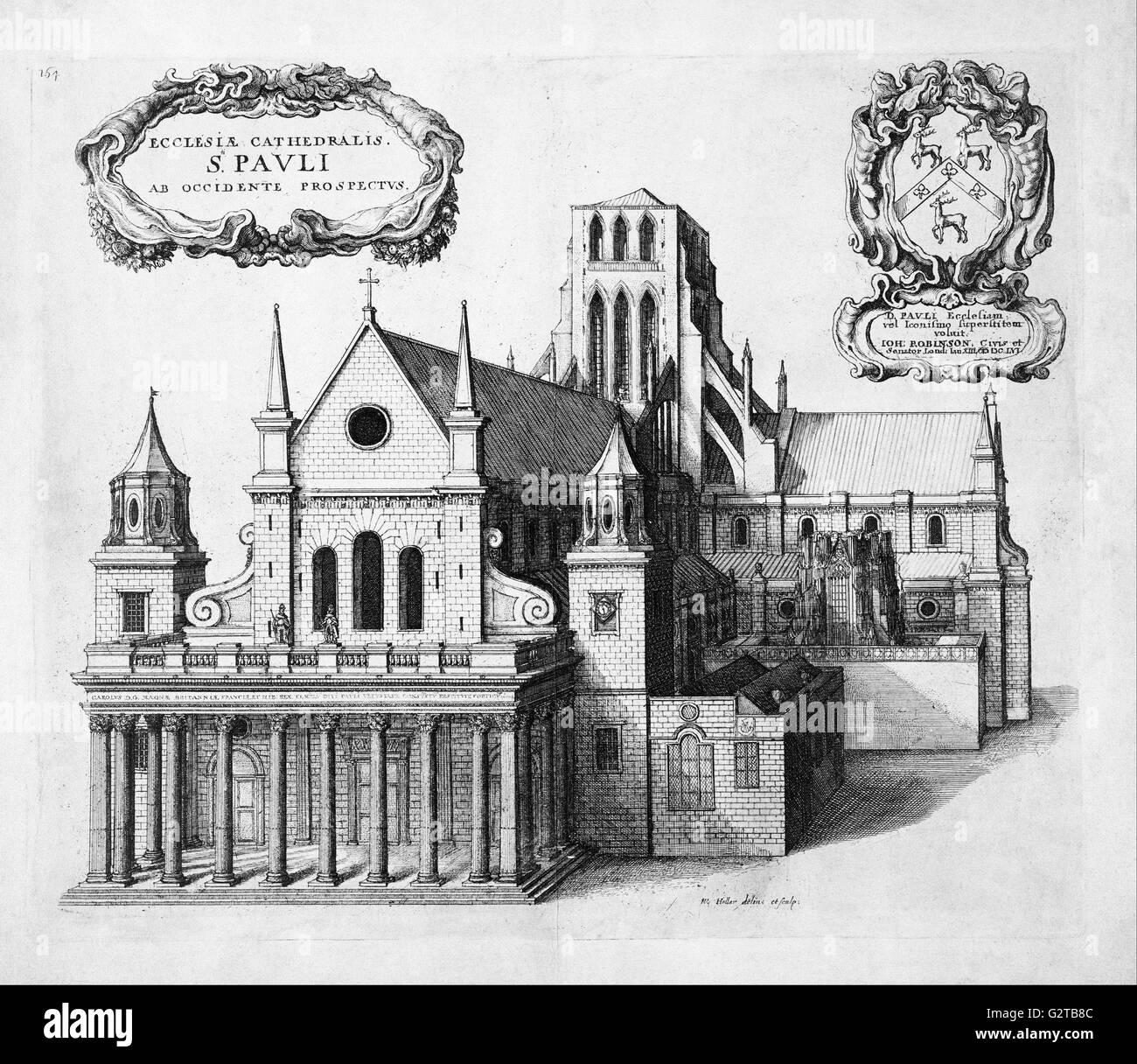 Grite, Wenceslao - impresión; aguafuerte - St Paul's desde el oeste - Imagen De Stock