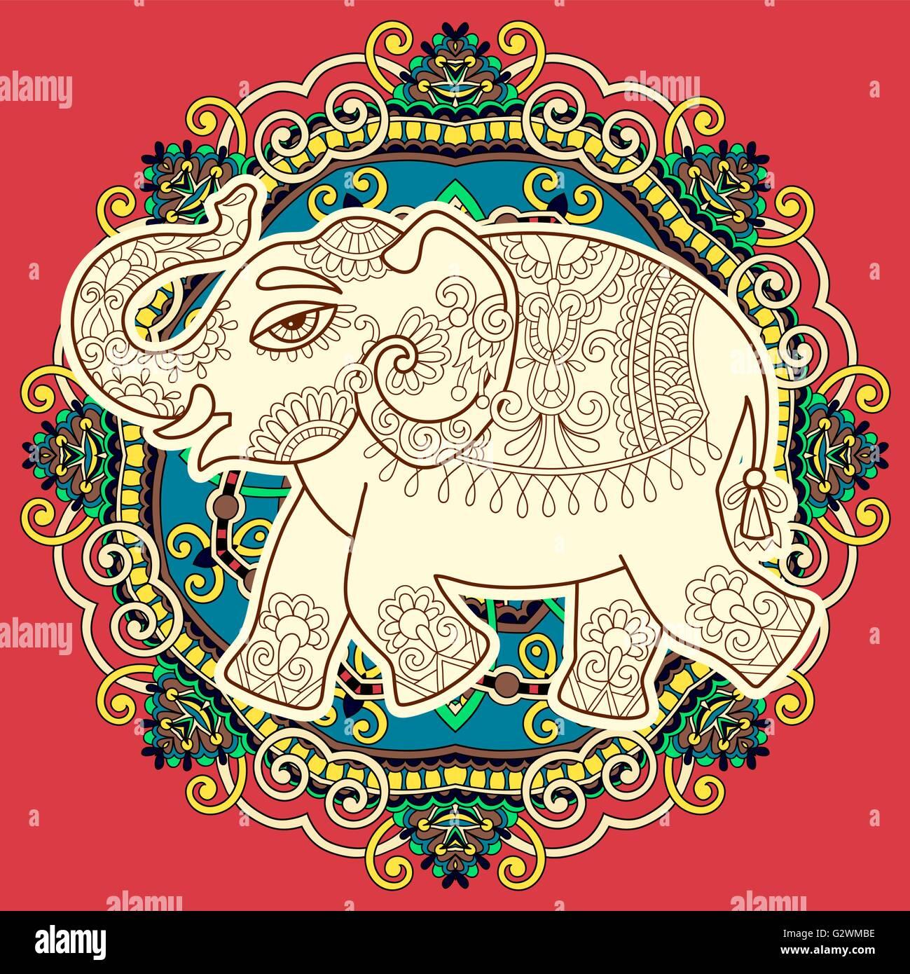 Dibujo De Elefantes Indios En Círculo Floral Paisley Ilustración Del
