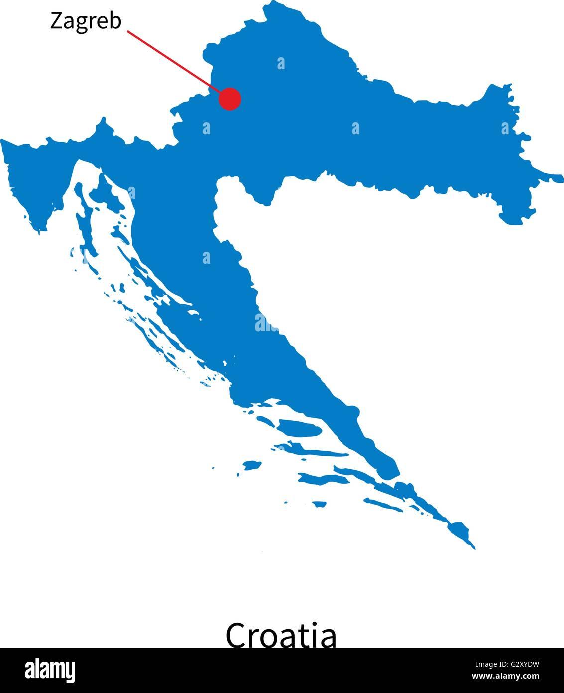 Vector Detallado Mapa De Croacia Y Ciudad Capital Zagreb