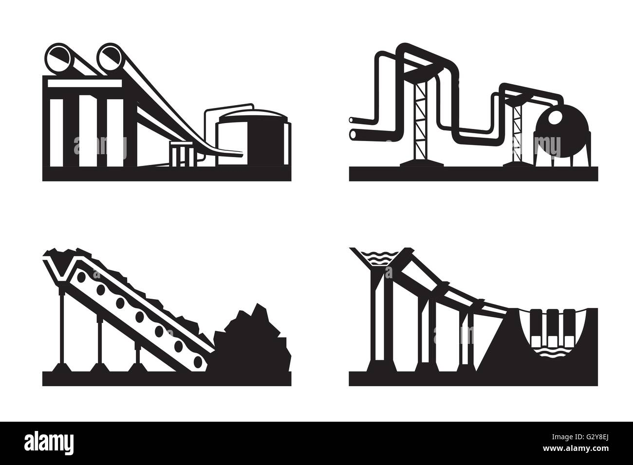 Los almacenes de recursos naturales - ilustración vectorial Imagen De Stock