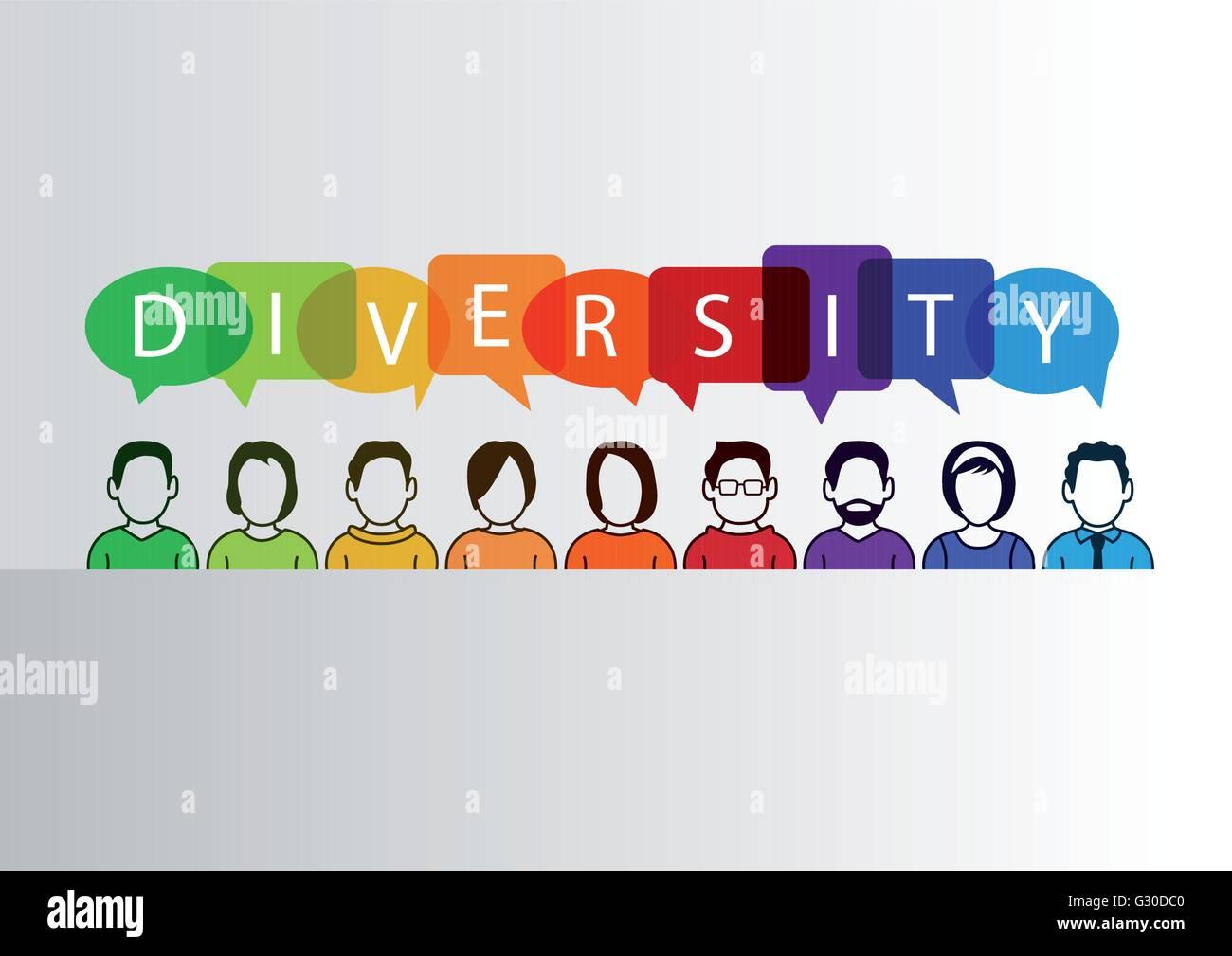 Colorida diversidad fondo con un grupo de personas y texto Imagen De Stock
