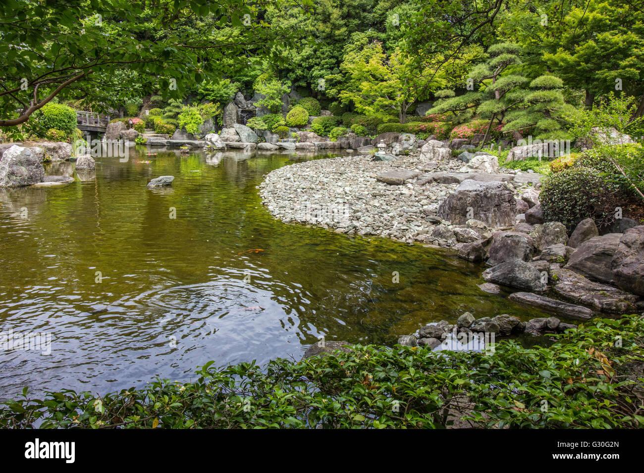Estanque en el jardín - Hanahata Hanahata Garden es un jardín japonés en la comunidad Adachi-ku Tokio. Imagen De Stock