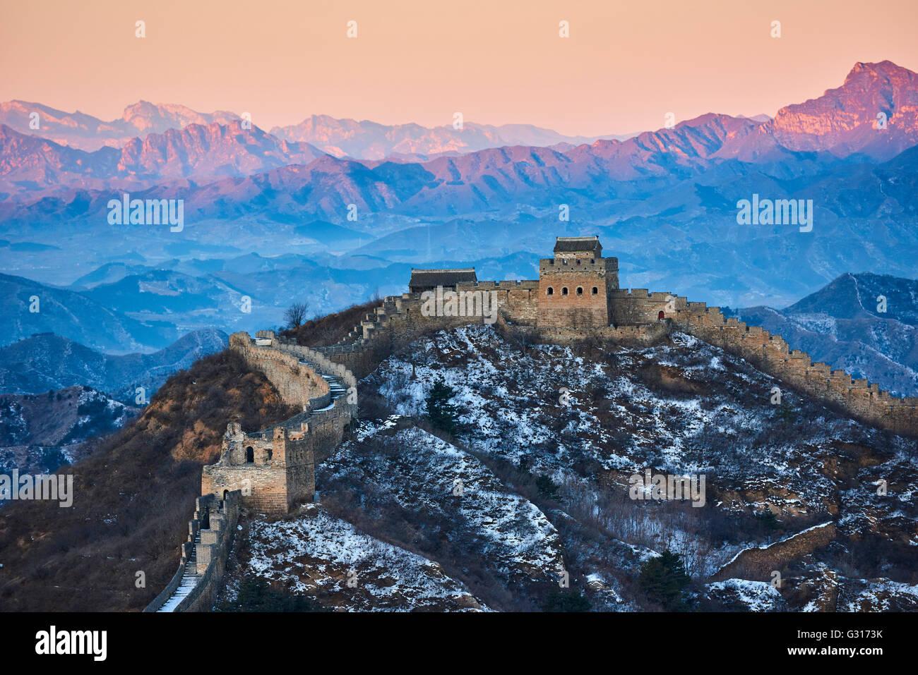 China, en la provincia de Hebei, la Gran Muralla de China, tour caminando Jinshanling y Simatai section, Patrimonio Foto de stock