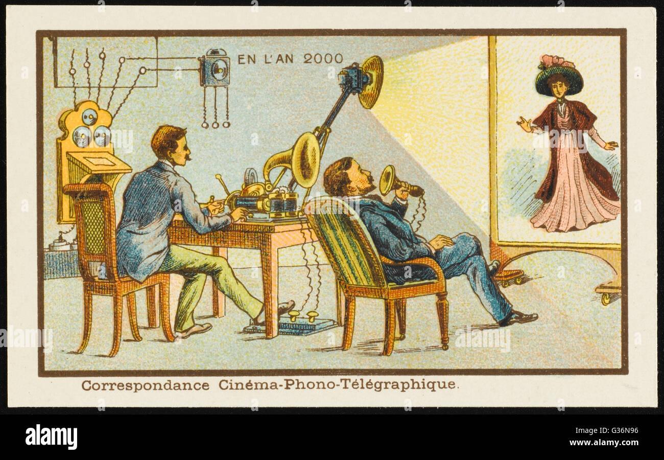 Un futurista cine-fono-telégrafo, que permite a la gente hablar por teléfono y ver en una pantalla al Imagen De Stock