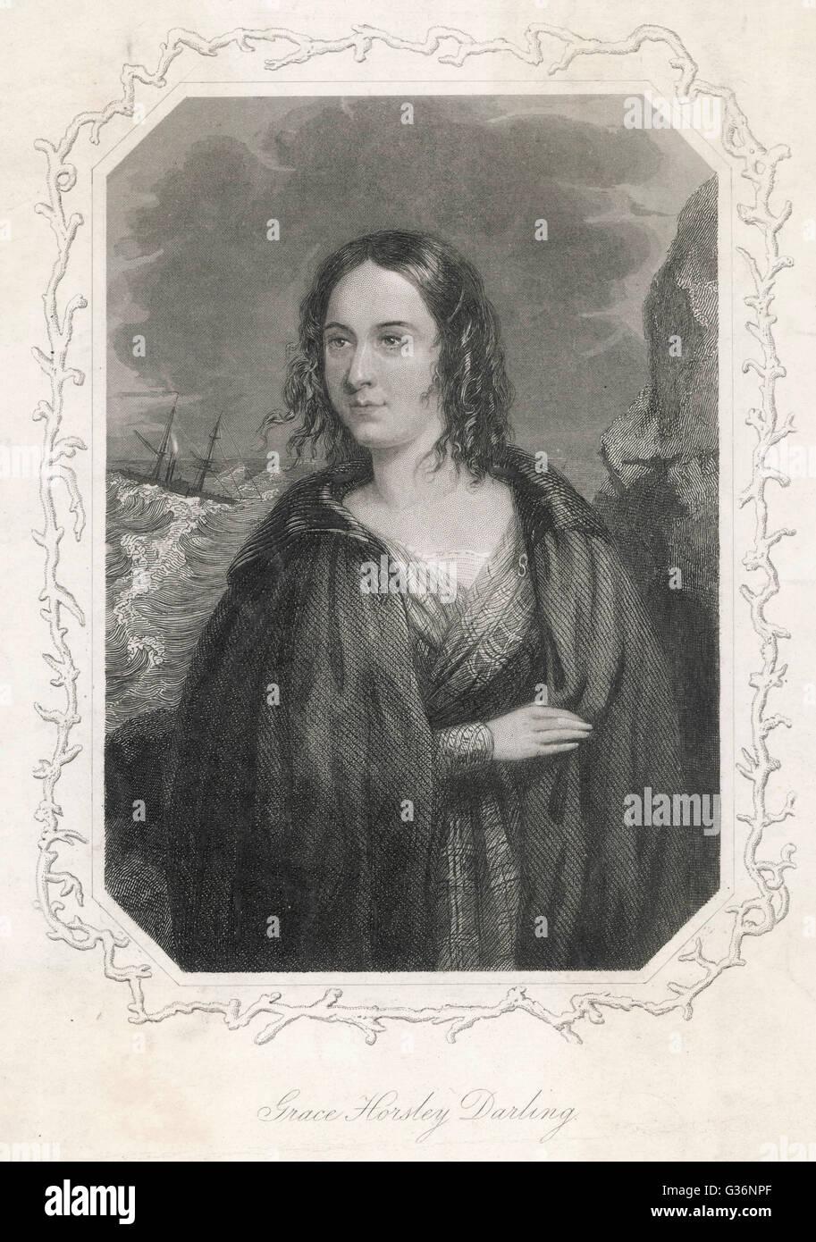 Horsley Grace Darling (1815-1842), hija del Torrero de Faros, William Darling, en las Islas Farne, que remaba con su padre hasta el hundimiento de la lancha de la SS Forfarshire en 1838 -- juntos salvaron a 13 personas de los restos del naufragio. Fecha: circa 18 Foto de stock