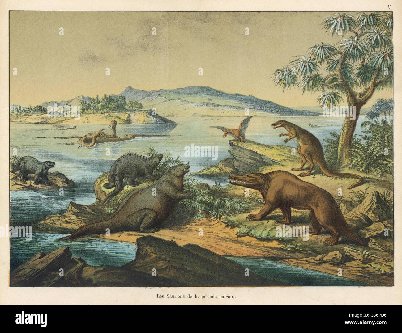 Animales y plantas de la era posterior a la época jurásica en el sur de Inglaterra. Fecha: AEC Imagen De Stock