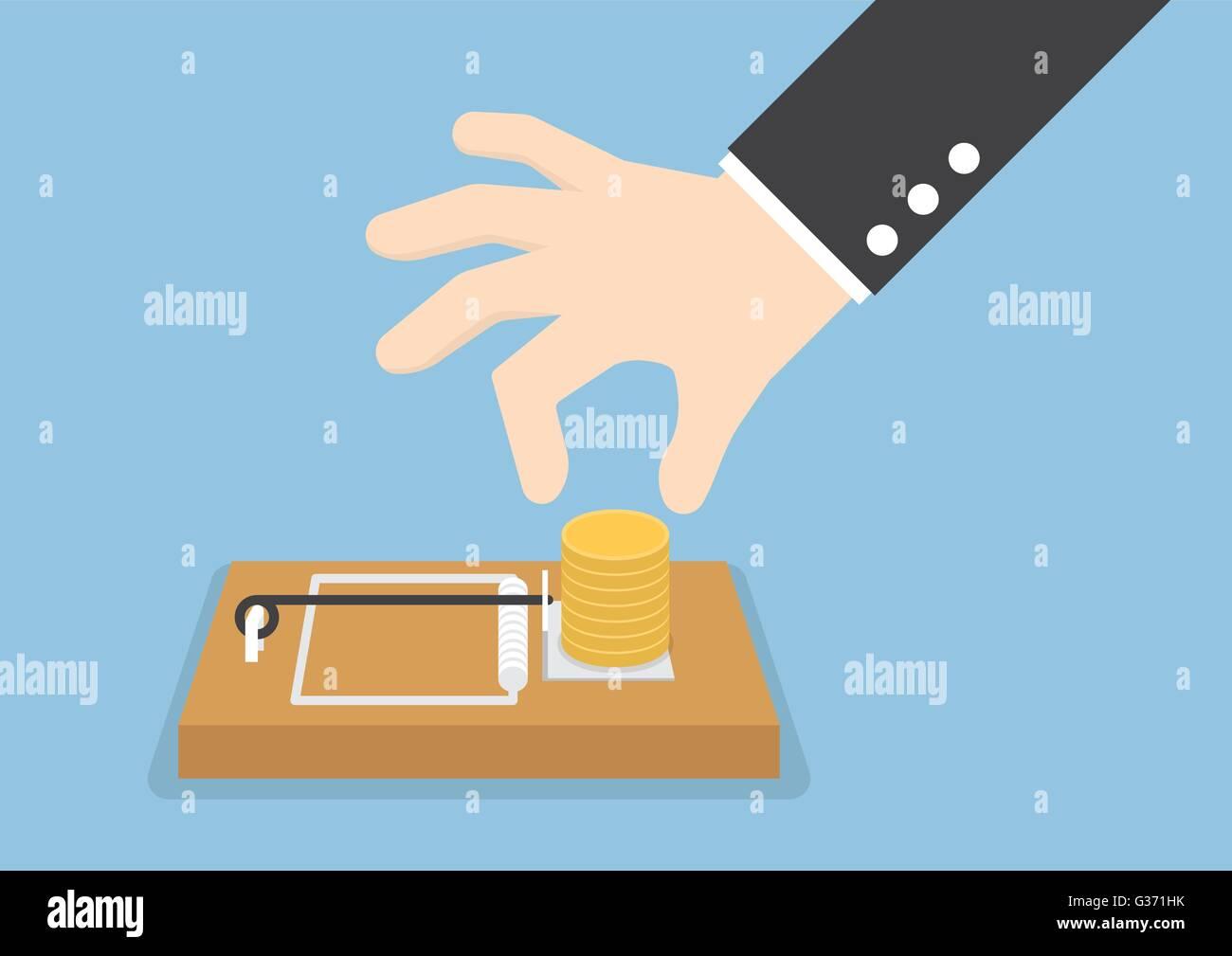 Empresario mano intenta recoger dinero de ratonera, VECTOR EPS10 Ilustración del Vector