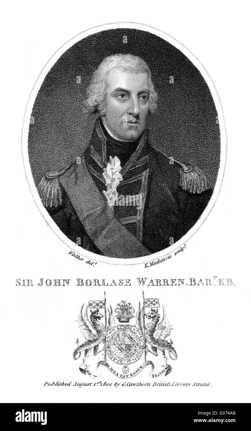 Sir John BORLASE WARREN comandante naval Británico Fecha: 1753 - 1822 Foto de stock