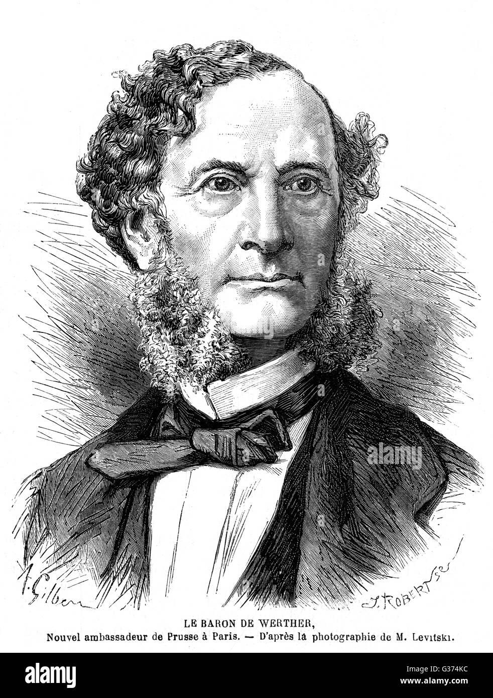 KARL ANTON Baron von WERTHER embajador de Prusia a Francia en 1869: en menos de un año los dos países estarían en guerra... Fecha: 1809 - 1894 Foto de stock