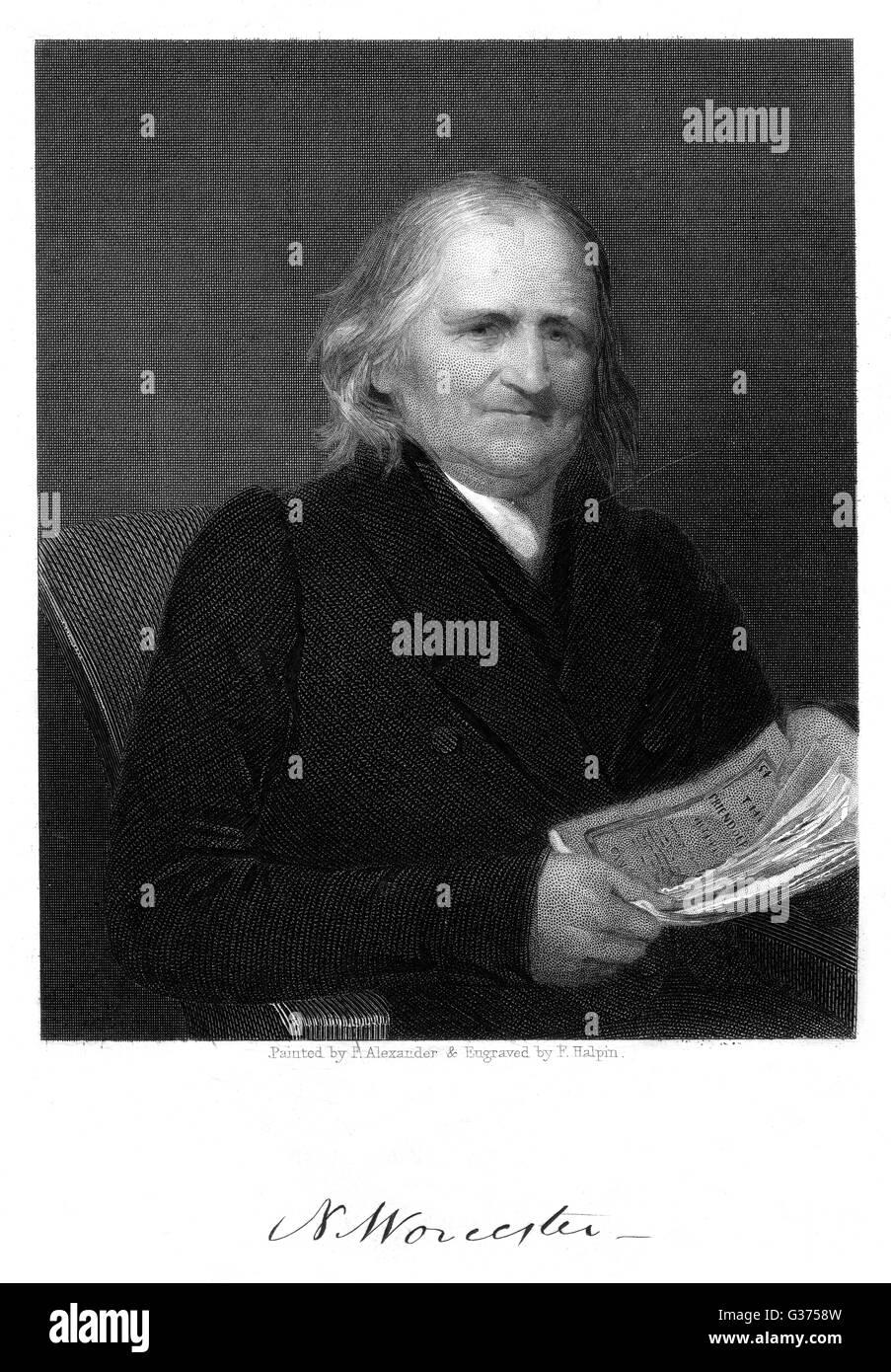 NOAH WORCESTER teólogo y pacifista americana con su autógrafo Fecha: 1758 - 1837 Imagen De Stock