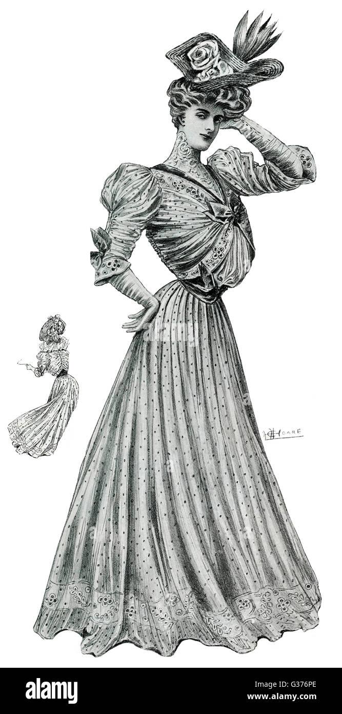 8efdae9b5 Soft white organdies pin vestido manchado con fina cintura y alta capot.  Fecha  1905