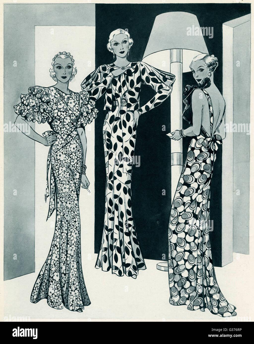 Tres Mujeres Que Llevaban Impresa Vivid Vestido Vestidos De