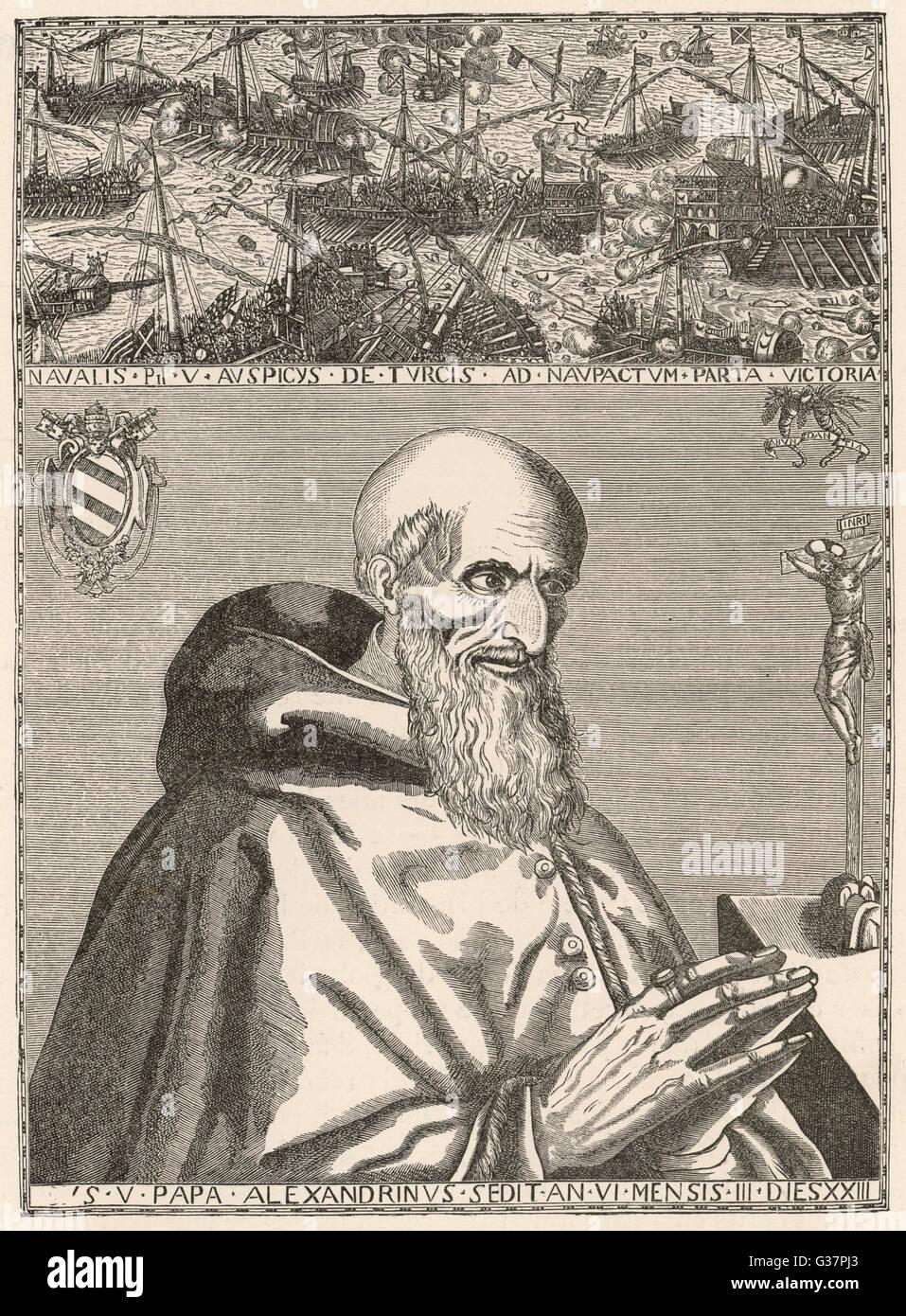 Batalla de Lepanto, el Papa san Pío V ora por la victoria, permitiendo de esta manera que Don Juan de Austria para derrotar a la flota turca Fecha: 7 de octubre de 1571 Foto de stock