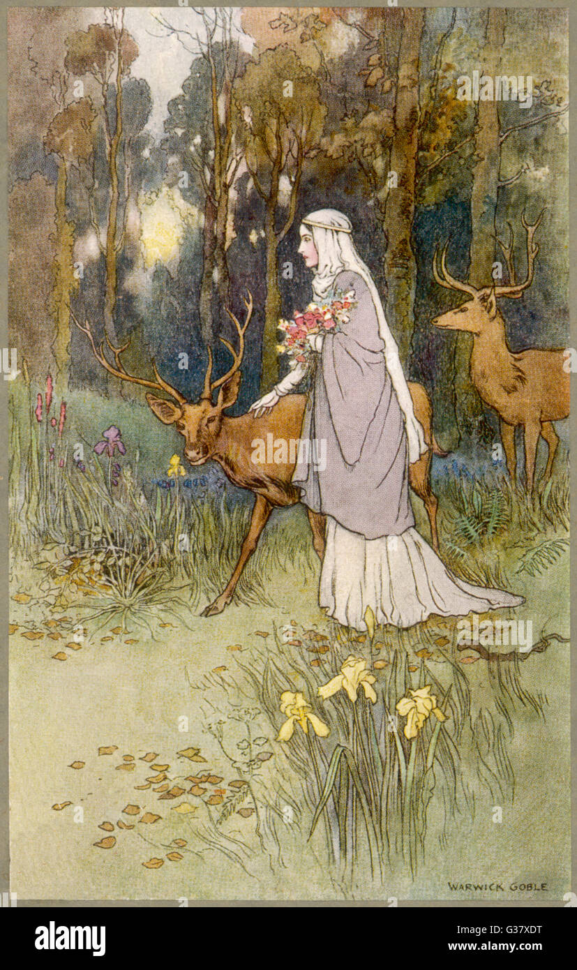 Una mujer caminando por el bosque con un tímido ciervo dun Imagen De Stock