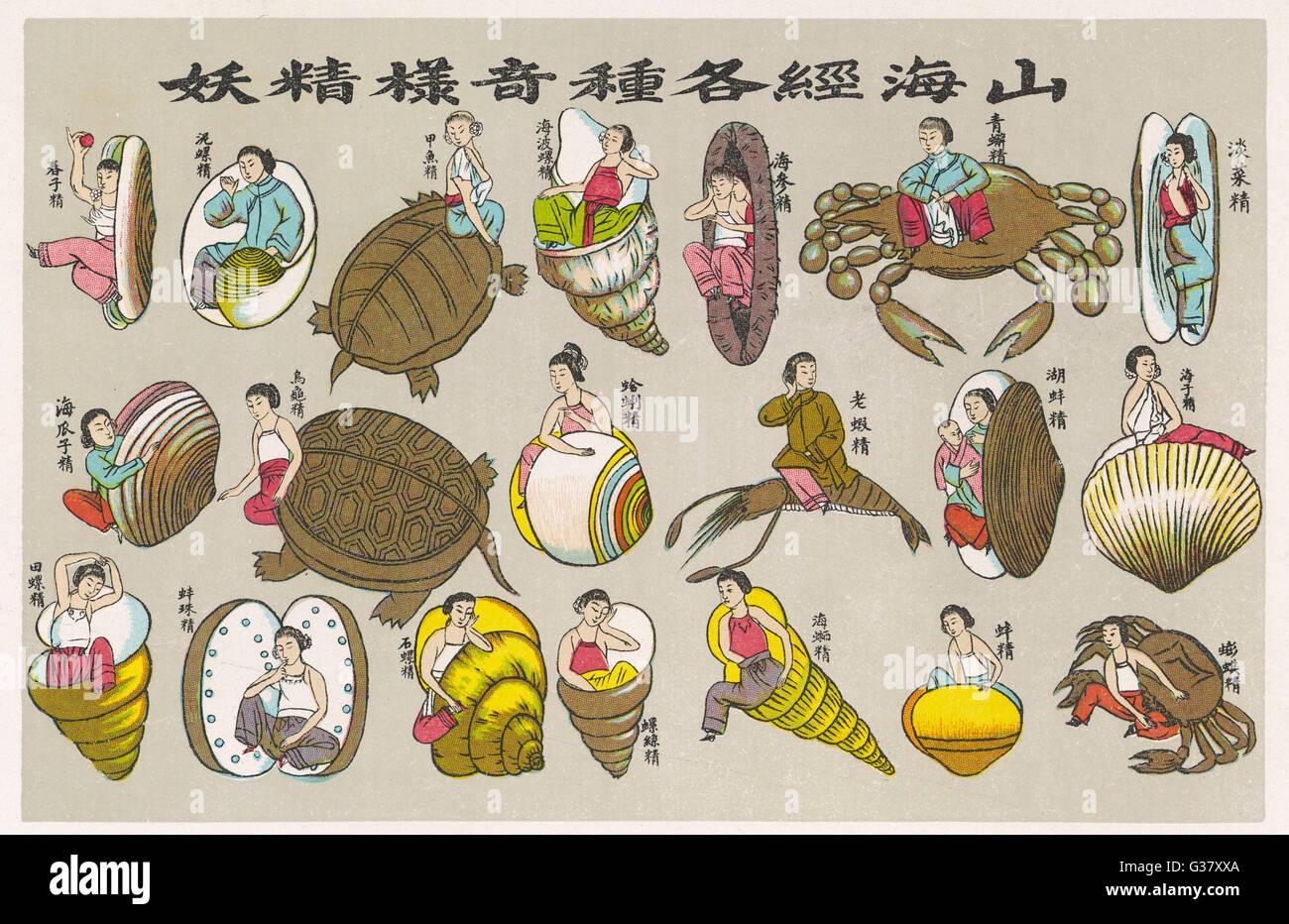 El concepto budista del ciclo de re-nacimiento: el alma es nacido de nuevo como un marisco(3 de 4). Fecha: 1915 Imagen De Stock