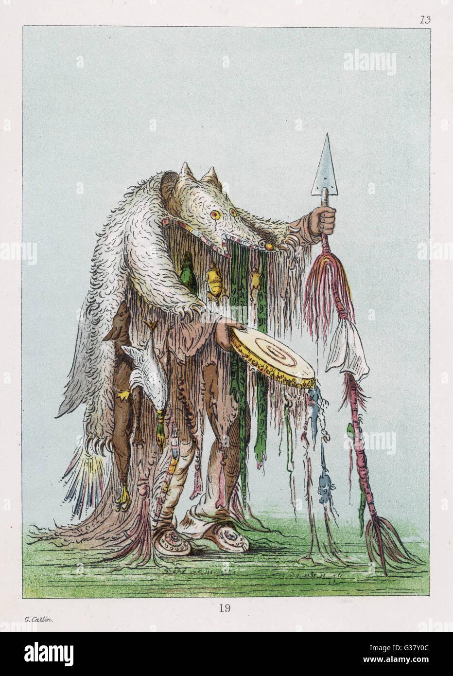 Hombre de medicina americana nativa de la tribu blackfoot. Fecha  1830  Imagen De Stock 11aaf5b4905a