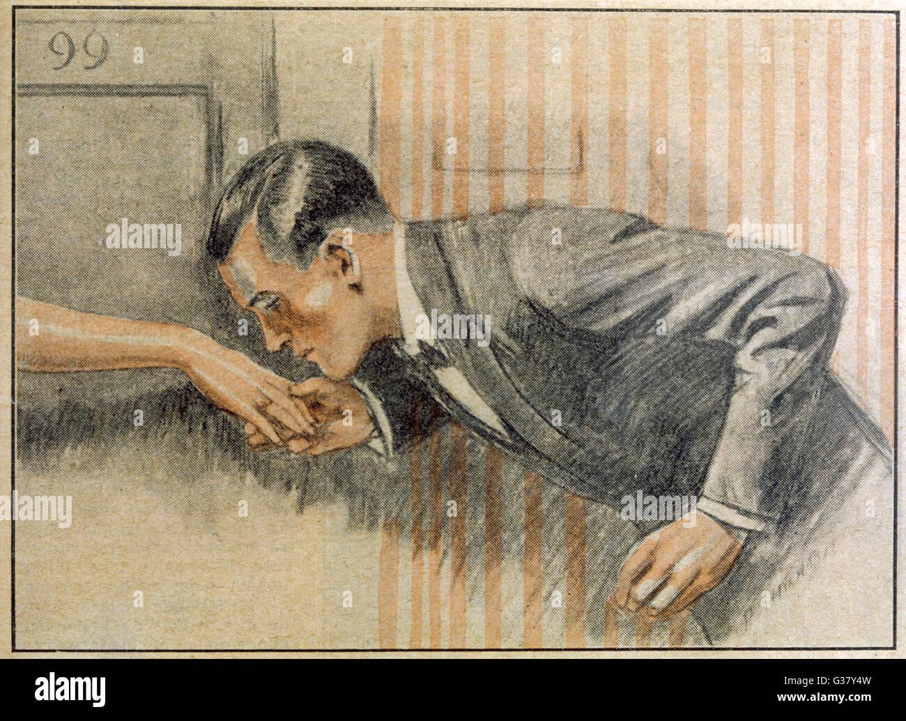 Besa los dedos extendidos. Fecha: 1927 Imagen De Stock