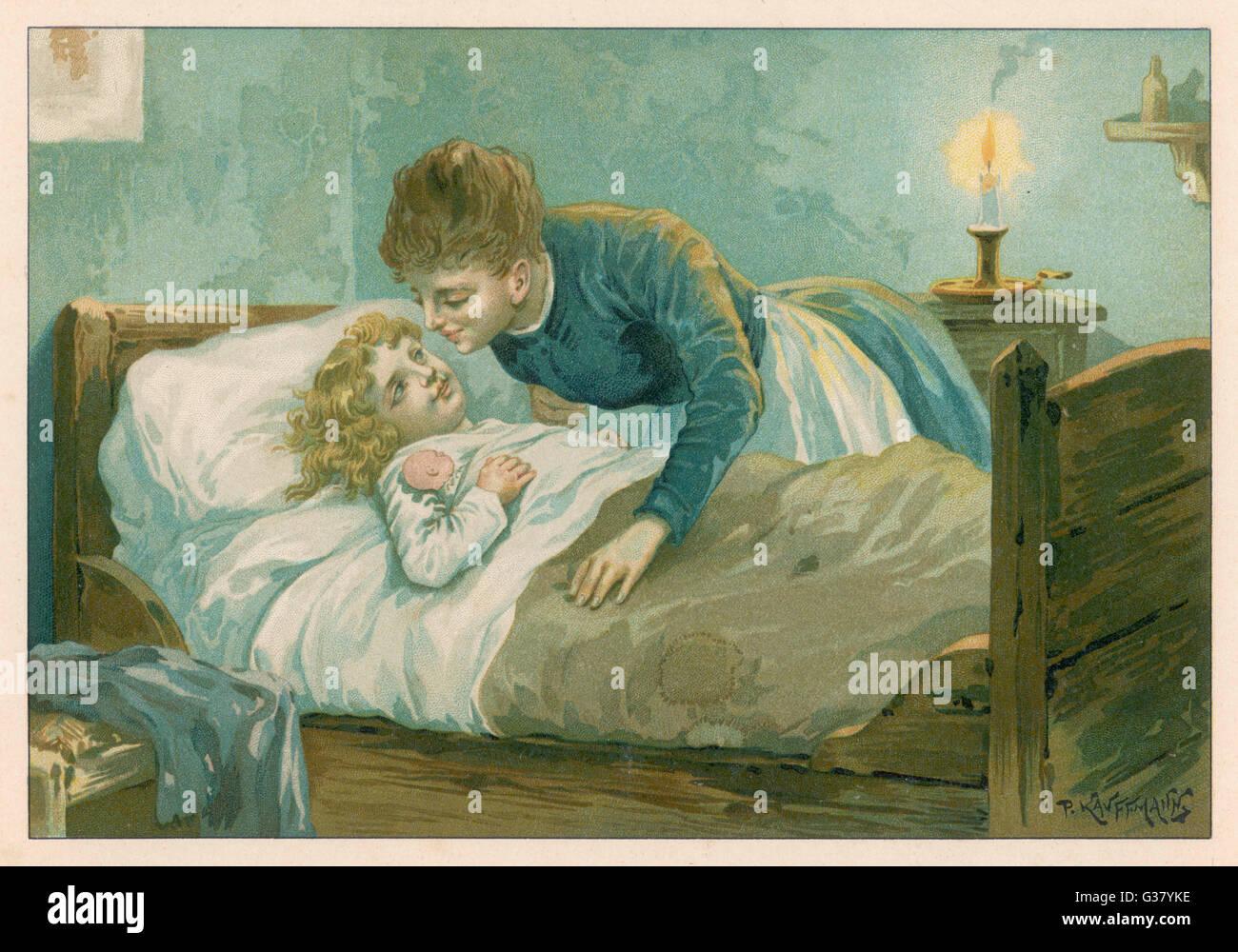 Una madre besa a su niña goodnight Fecha: circa 1890 Imagen De Stock