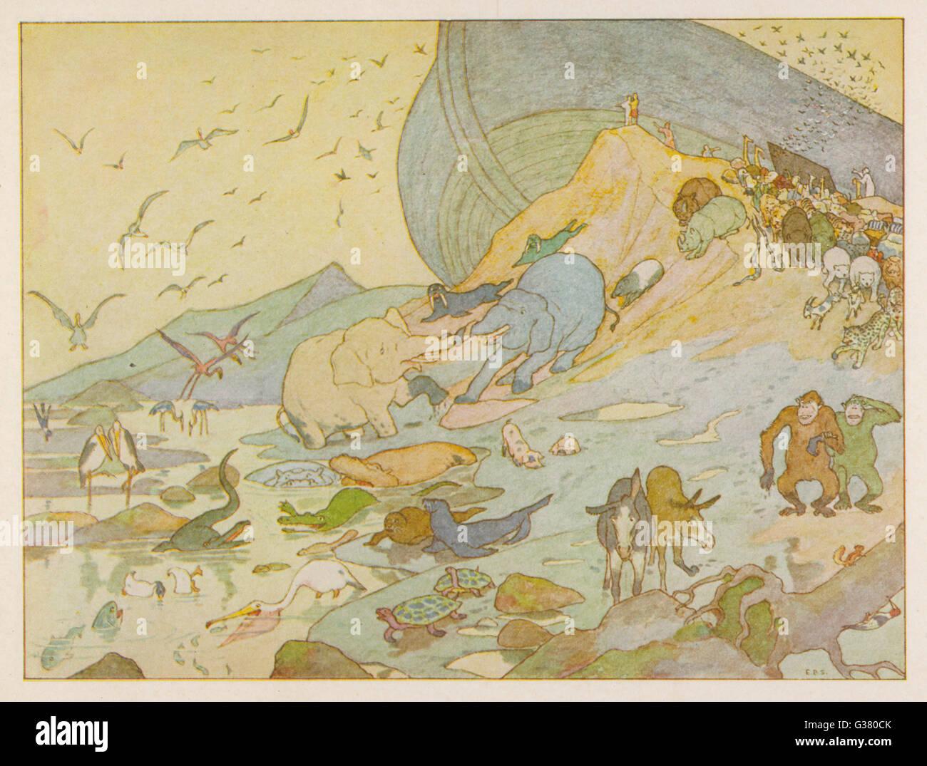 NOAH'S ARK - Los animales se complace en tierra firme una vez más Imagen De Stock