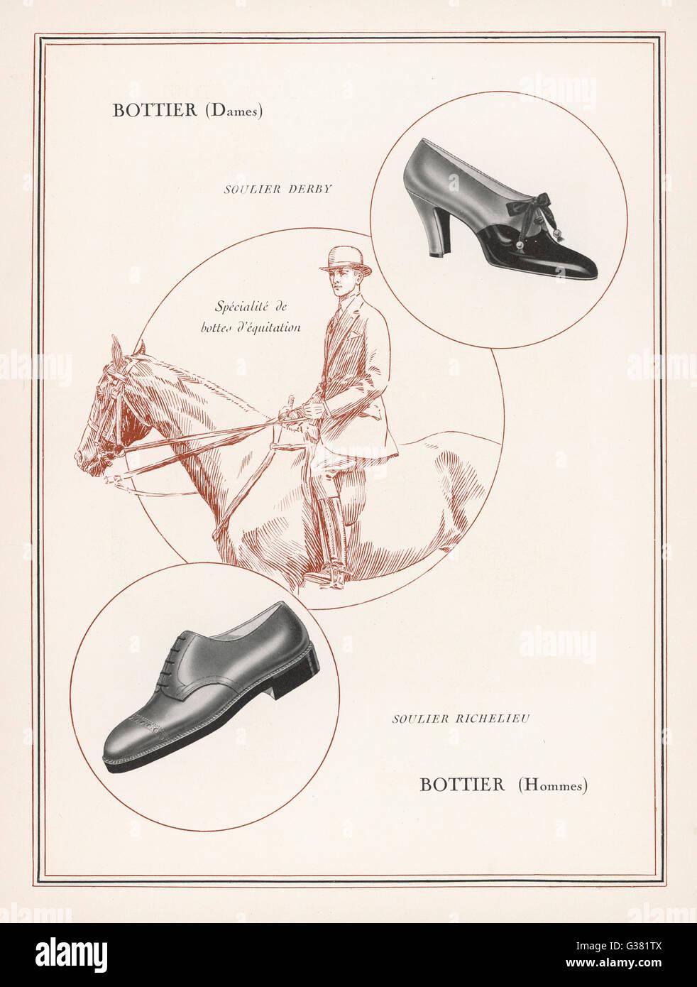 Un anuncio para hombres y zapatos de mujer Fecha: 1927 Imagen De Stock