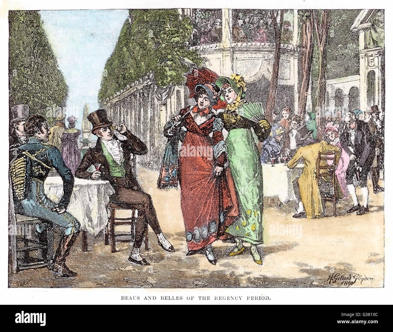 Beaux y belles del Regency período en los jardines Vauxhall Fecha: circa 1810 Imagen De Stock