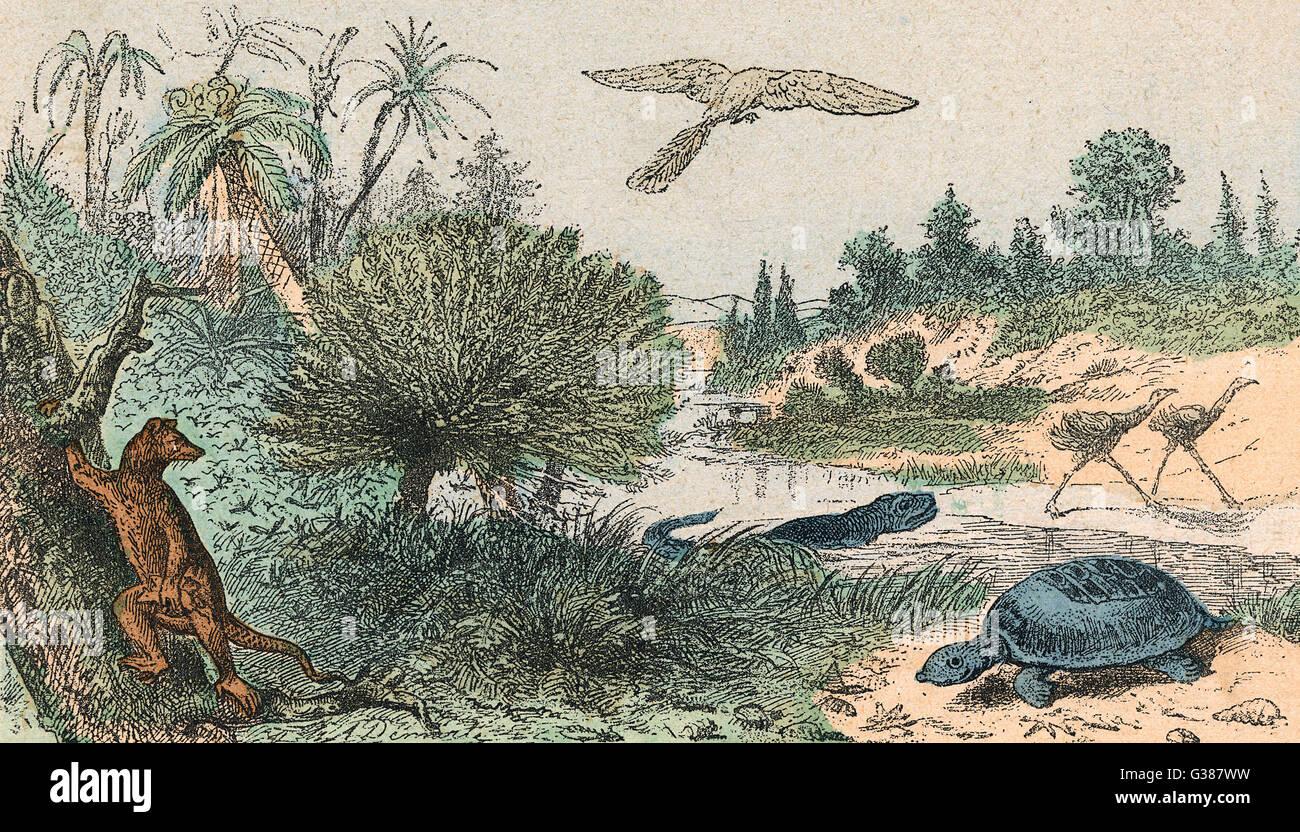 El cretáceo paisaje con unos pocos animales, aves y reptiles Fecha: 146-65 millones BC Imagen De Stock