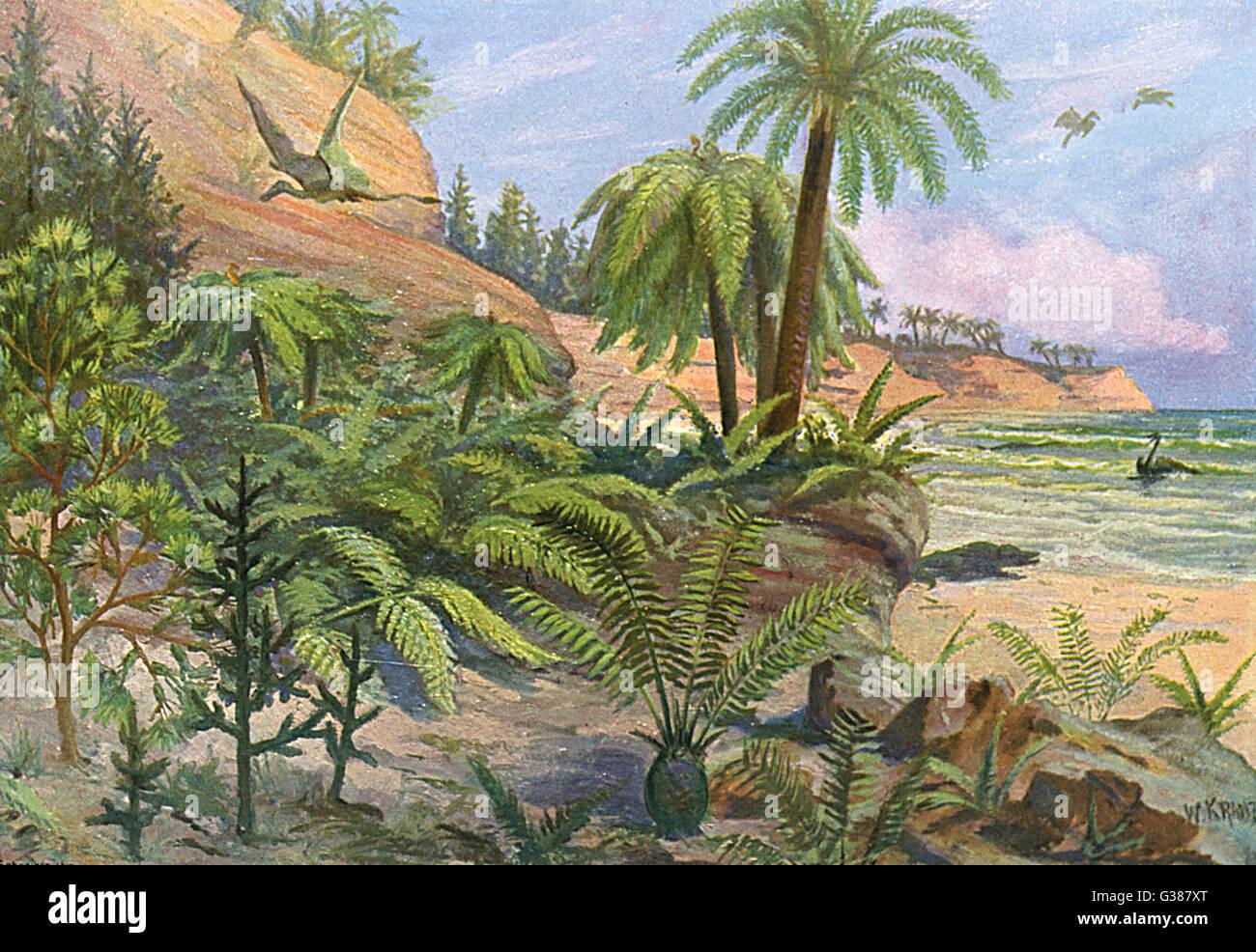 Un paisaje jurásico Fecha: 208-146 millones de a.c. Imagen De Stock