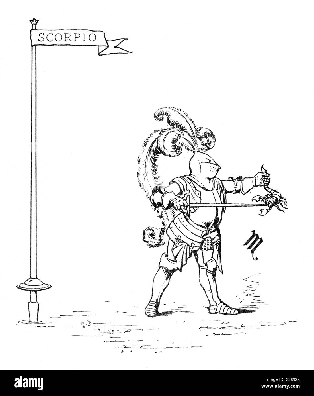 Un peculiar ilustración mostrando un caballero poniendo un escorpión a la espada Fecha: 1887 Imagen De Stock