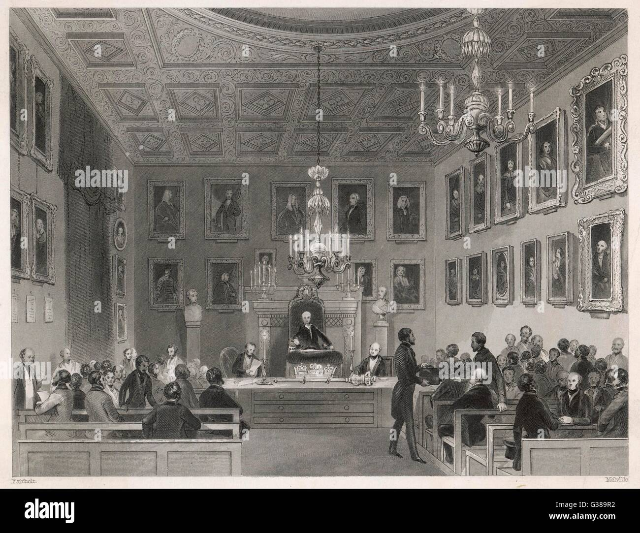 Una reunión celebrada en Somerset House, Londres. Fecha: 1840 Imagen De Stock