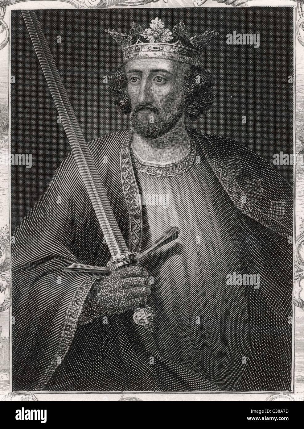 El rey Eduardo I representado sosteniendo una espada borde decorativo que muestra los eventos de su reinado Fecha: 1239 - 1307 Foto de stock