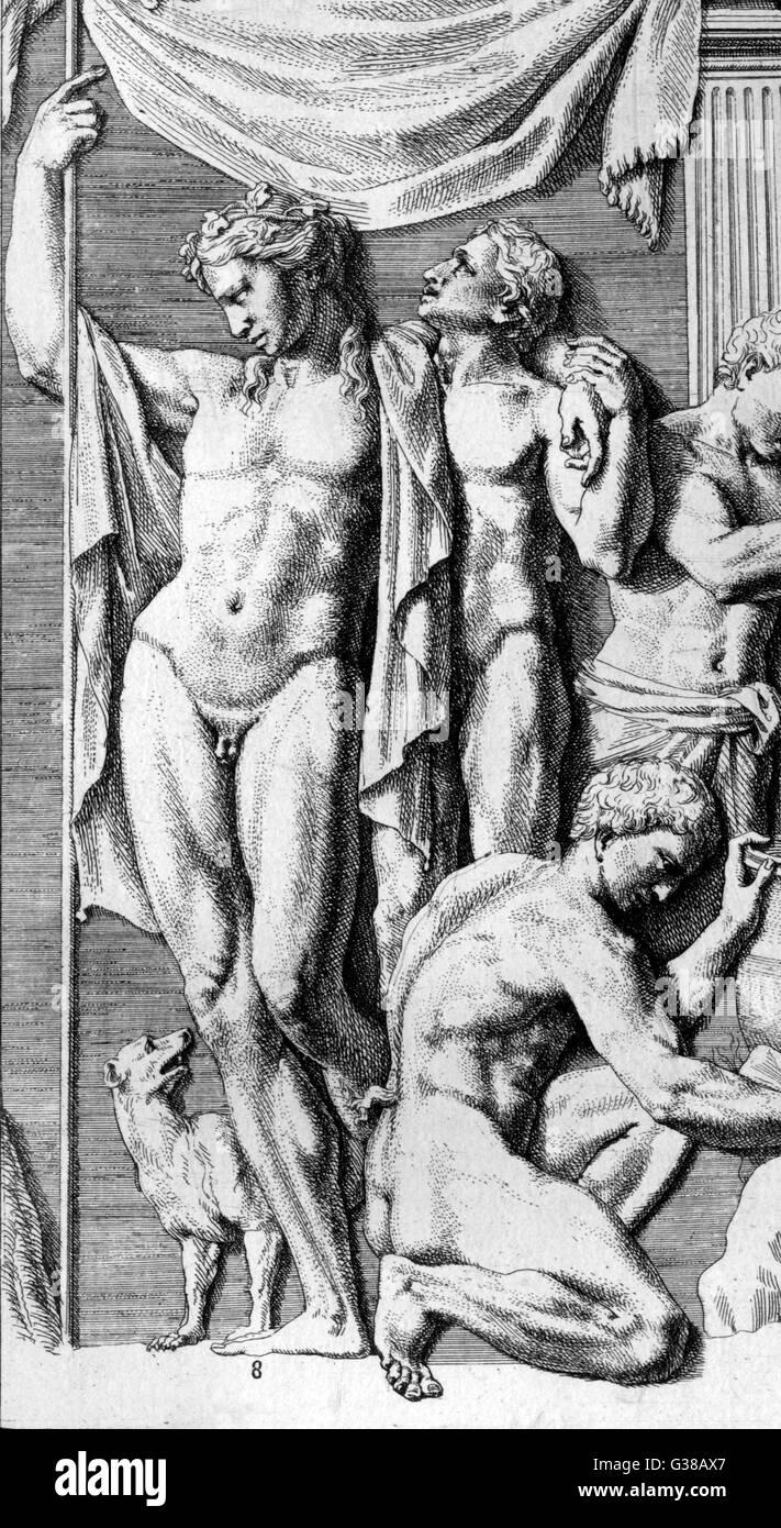 Dionysos y algunos compañeros, y un perro Imagen De Stock