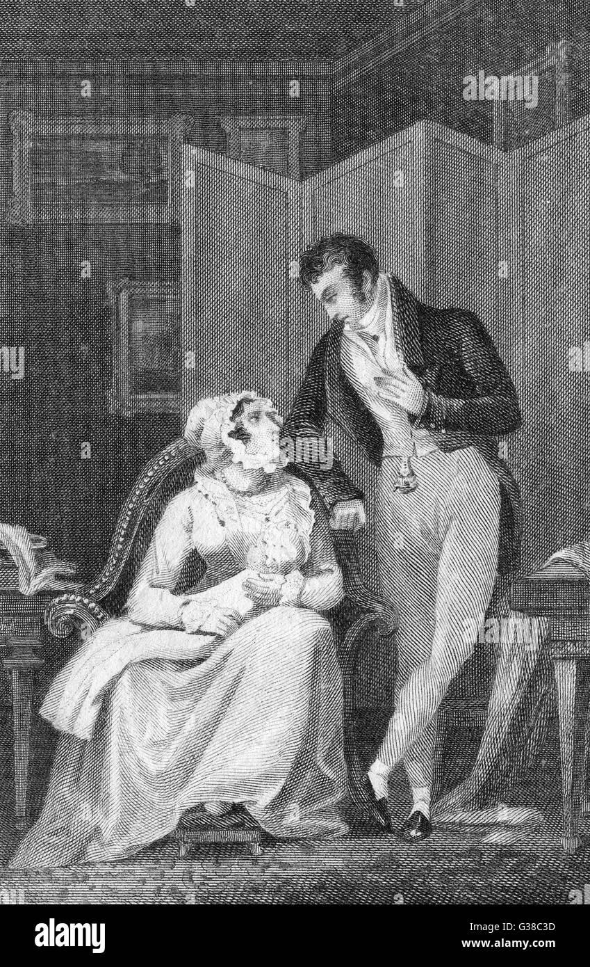 Un joven regency el hombre y la mujer con su bebé mirar con amor en cada uno de los otros ojos Fecha: circa Imagen De Stock