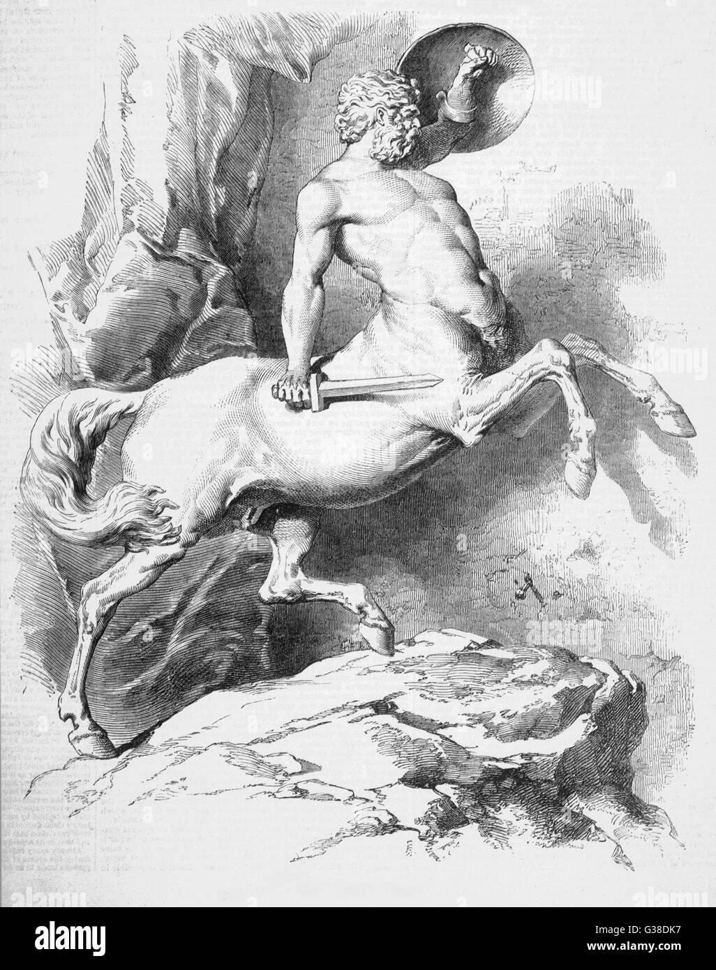 Centauros pueden usar armas al igual que los seres humanos, además de sus recursos naturales, haciéndolos Imagen De Stock