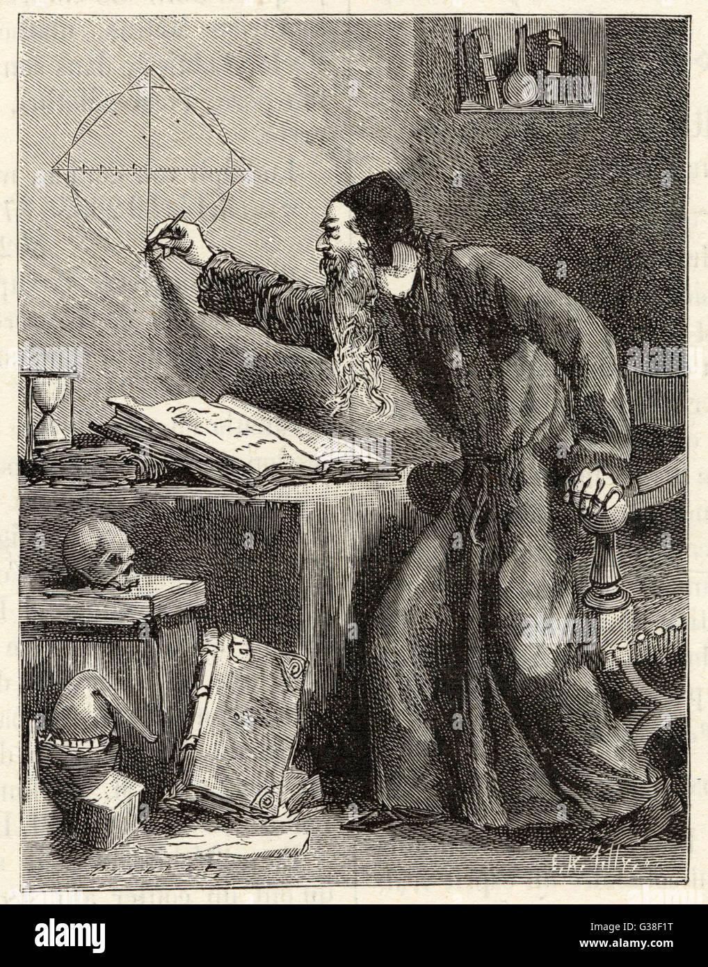 """Un matemático renacentista pretende """"cuadrado el círculo"""" Fecha: siglo XVI Imagen De Stock"""
