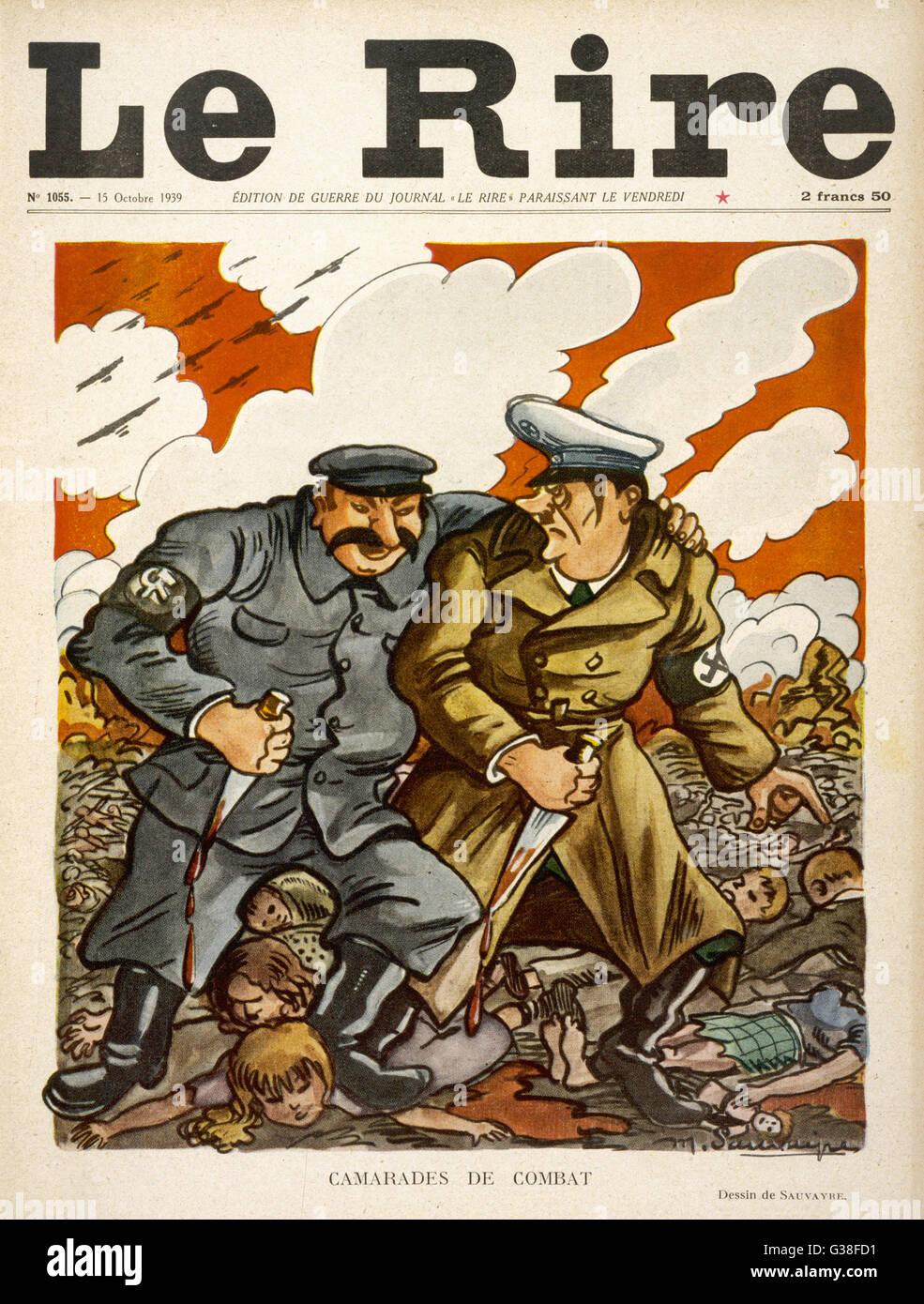 Compañeros en la batalla Hitler luce incómodamente en su codicioso y sanguinario aliado, Josef Stalin Imagen De Stock