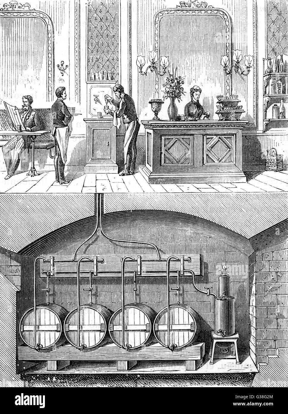 Cómo obtiene la cerveza de los Barriles en la bodega de los grifos en el bar, gracias a gas ácido carbónico Imagen De Stock