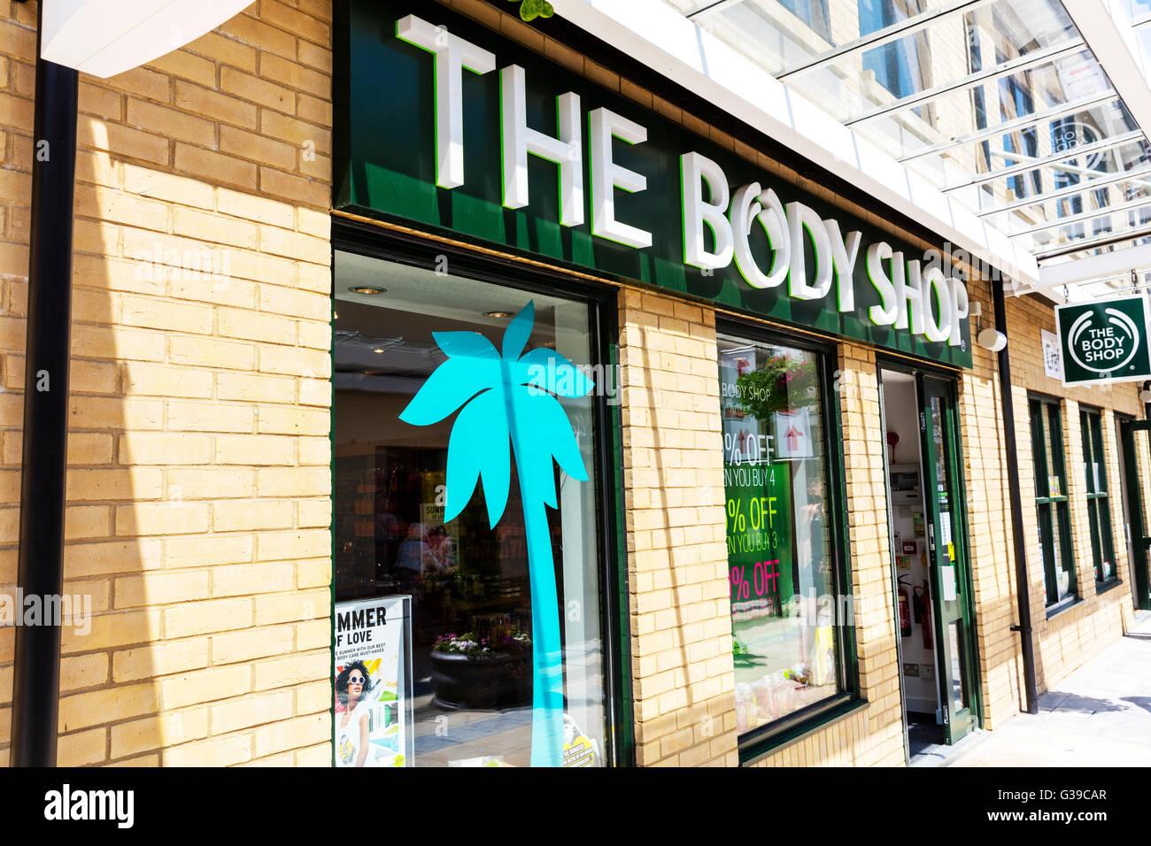 The Body Shop firmar la construcción de tiendas de cuidado corporal, cosmética & Maquillaje uk inglaterra Imagen De Stock