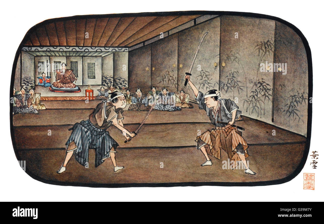 Guerreros japoneses esgrima Imagen De Stock