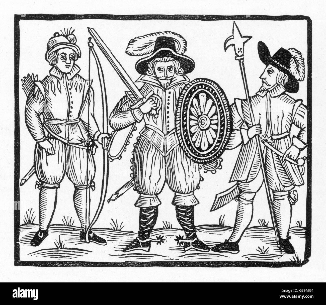 Robin y dos de sus acompañantes Fecha: circa 1630 Imagen De Stock