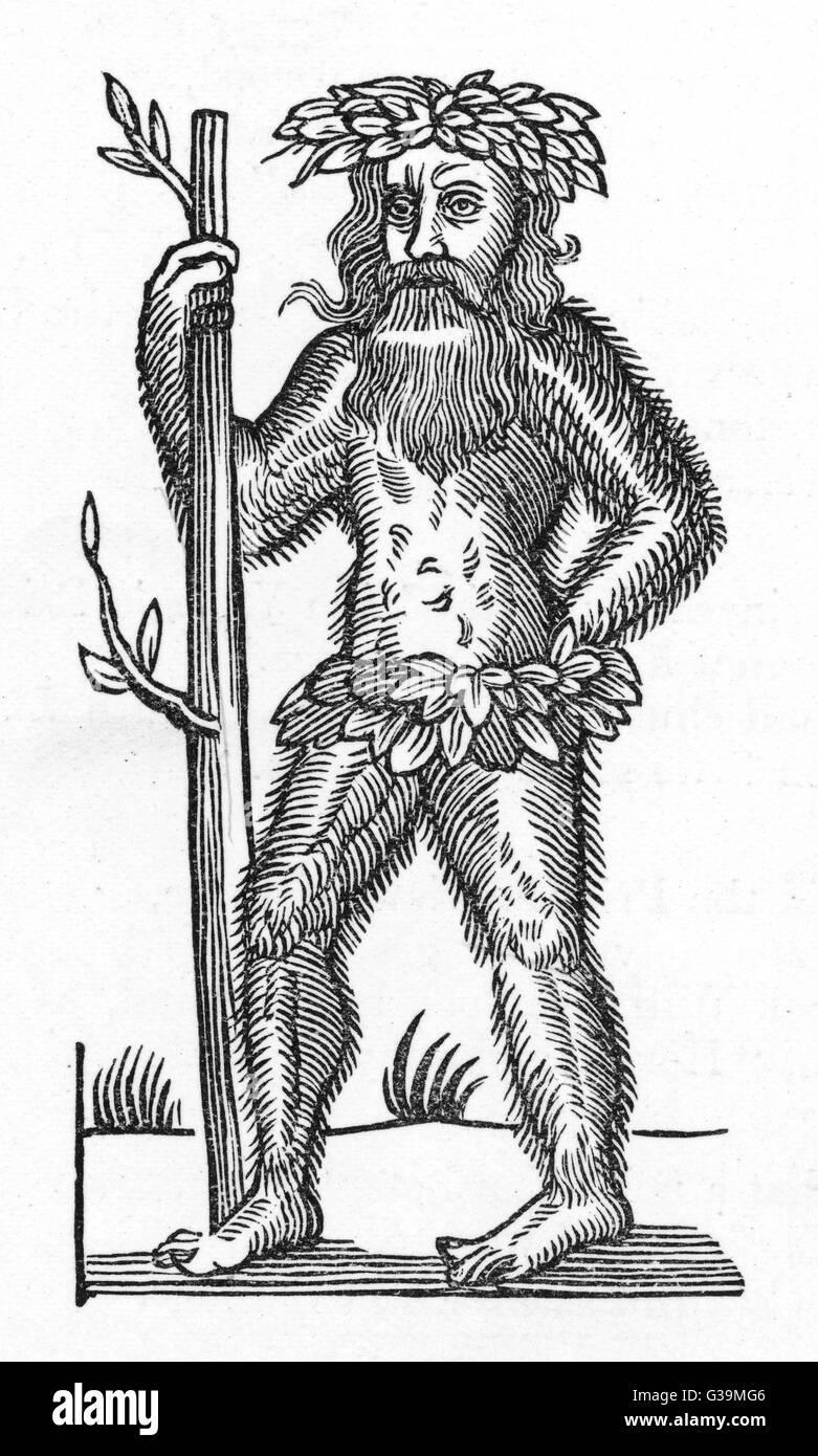 El hombre verde tradicional del folklore Inglés - ésta es usada para ilustrar una balada acerca de Robin Imagen De Stock