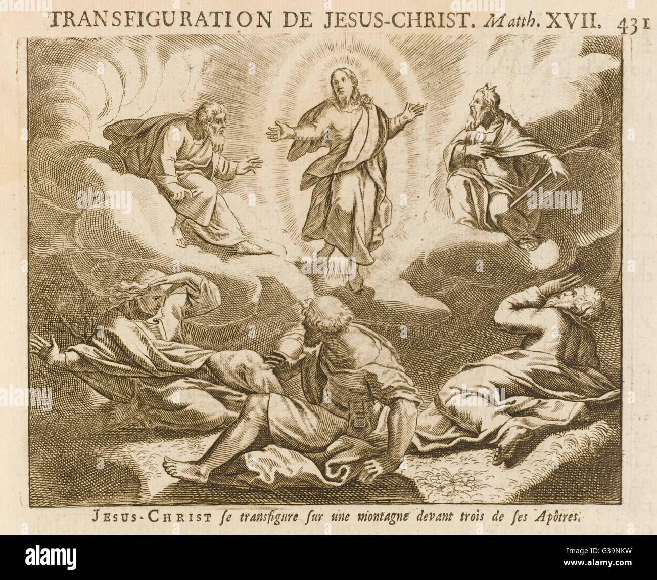 Él es transfigurado, ante la sorpresa de sus compañeros Imagen De Stock