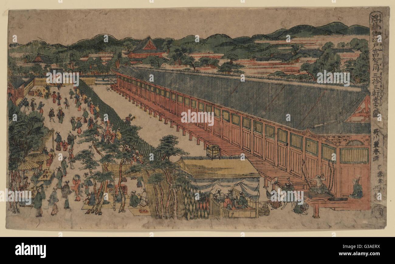 Imagen de perspectiva del salón de treinta y tres bahías, Fukagawa en Edo. Impresión muestra un edificio Imagen De Stock