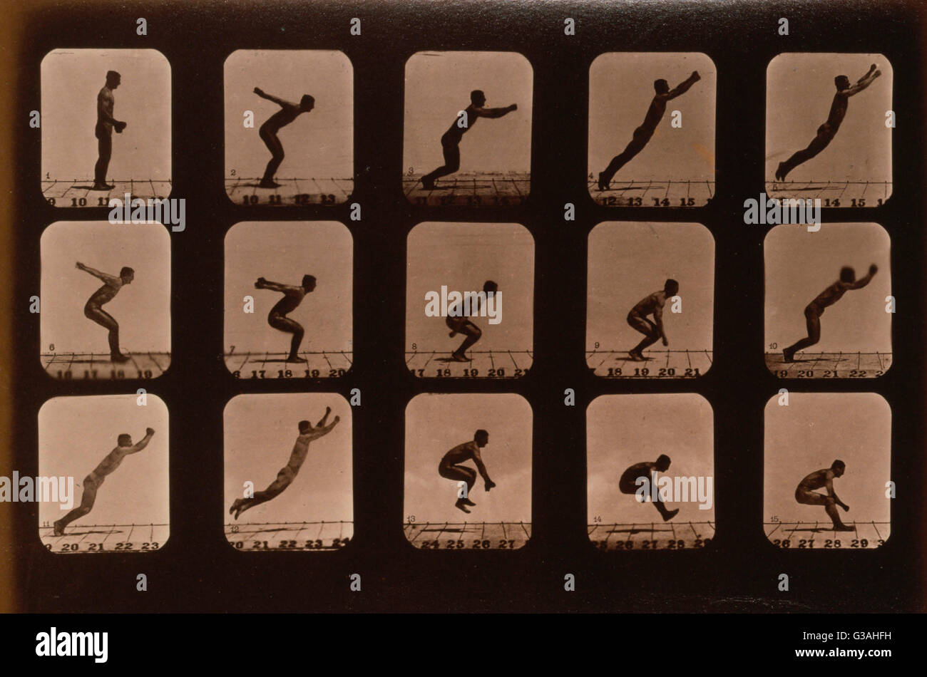 Los atletas. Saltos de pie. Fotografía muestra 15 imágenes consecutivas de un hombre saltando. Fecha c1881. Imagen De Stock