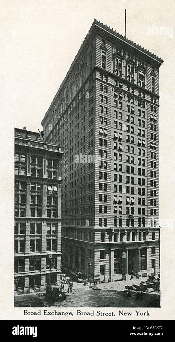 La amplia lonja, 25 Broad Street, Manhattan, Nueva York, Estados Unidos. Construido en 1900 para proporcionar espacio Foto de stock