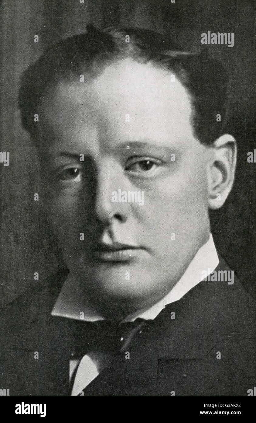 Winston Churchill (1874-1965), estadista británico y el ex Primer Ministro del Reino Unido. Fecha: 1906 Foto de stock